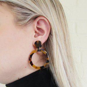Acrylic Statement Earrings Tortoise Shell